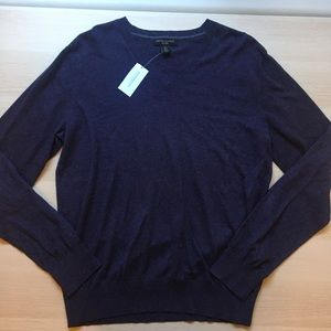 Banana Republic Men's Purple V Neck Sweater